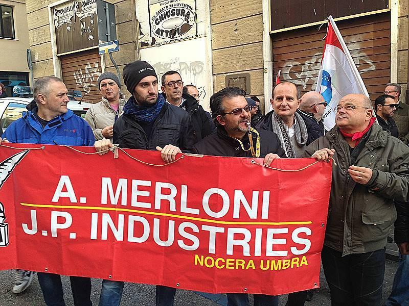 Manifestazione operai ex Merloni